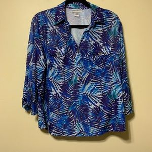 Large blue, purple and white embellished top